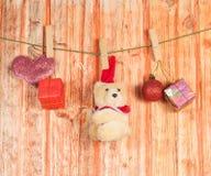 圣诞节装饰和玩具熊玩具 免版税库存图片
