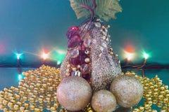 圣诞节装饰和诗歌选 免版税库存图片