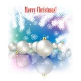 圣诞节装饰和雪花 免版税库存照片