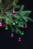 圣诞节装饰品和杉木分支在黑背景 在绿色云杉的分支的紫色和绿色圣诞节球 2007个球圣诞节年 免版税库存照片