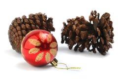 圣诞节装饰品和针叶树锥体 免版税图库摄影