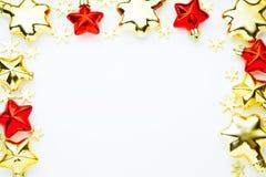 圣诞节装饰品和12月贺卡的圣诞节框架  免版税图库摄影