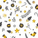 圣诞节装饰品无缝的样式金子白色背景 免版税库存图片