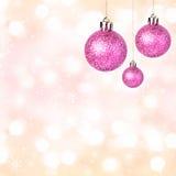 圣诞节装饰品有发光的欢乐球欢乐背景 免版税库存图片