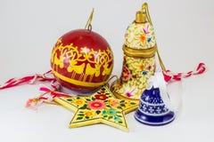 圣诞节装饰品的不同的形式 免版税图库摄影