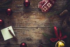 圣诞节装饰品的汇集,文本的空间 免版税库存图片