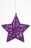 圣诞节装饰品紫色星形 库存照片