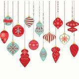 圣诞节装饰品,圣诞节球装饰,圣诞节垂悬的装饰集合 库存图片