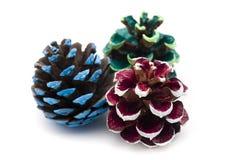 圣诞节装饰品-杉木锥体 免版税库存图片