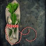圣诞节装饰圣诞树被定调子的早午餐葡萄酒 免版税库存照片
