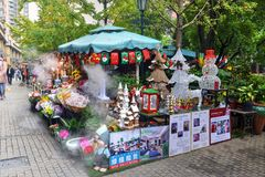 圣诞节装饰在上海,中国 图库摄影