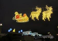 圣诞节装饰在城市 33c 1月横向俄国温度ural冬天 库存照片