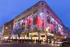 圣诞节装饰在牛津街,伦敦 免版税库存图片