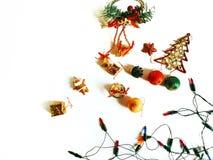 圣诞节装饰在白色背景隔绝的边界设计 免版税图库摄影