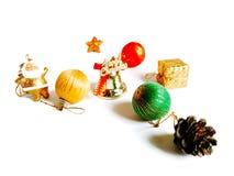圣诞节装饰在白色背景隔绝的边界设计 库存照片