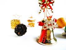 圣诞节装饰在白色背景隔绝的边界设计 库存图片