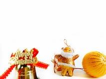 圣诞节装饰在白色背景隔绝的边界设计 免版税库存图片