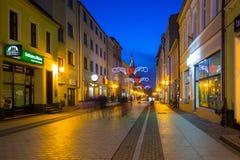 圣诞节装饰在老镇Chelmno,波兰 库存图片