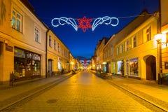 圣诞节装饰在老镇Chelmno,波兰 库存照片