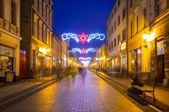 圣诞节装饰在老镇Chelmno,波兰 免版税库存图片