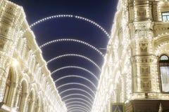 圣诞节装饰在莫斯科市 胶商城 免版税库存照片