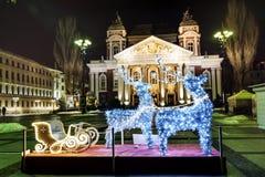 圣诞节装饰在索非亚,保加利亚 免版税库存图片