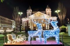 圣诞节装饰在索非亚,保加利亚 免版税图库摄影