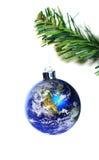 圣诞节装饰地球停止的结构树 库存图片