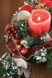 圣诞节装饰坐布朗表 免版税图库摄影