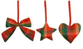 圣诞节装饰垂悬的玩具,被隔绝的白色背景 免版税库存照片