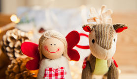 圣诞节装饰天使和驴 库存图片