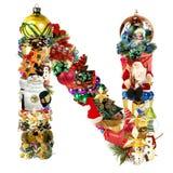 圣诞节装饰字母N 免版税库存图片