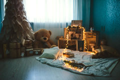 圣诞节装饰室 免版税库存照片