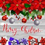 圣诞节装饰常青树树 库存例证
