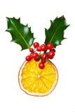 圣诞节装饰干霍莉桔子 免版税库存图片