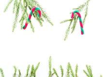 圣诞节装饰或装饰品在长方形框架形状放置了被隔绝的组成由绿色杉木分支和红色和绿色藤茎  库存照片