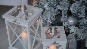 圣诞节装饰新年度 摘要被弄脏的Bokeh假日背景 眨眼睛诗歌选 圣诞节图象点燃更多我的投资组合结构树 股票视频