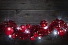 圣诞节装饰木头背景 免版税库存照片