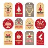 圣诞节装饰查出的标签 假日标记和徽章与滑稽的冬天新年元素和传染媒介雪例证 向量例证