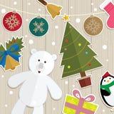 圣诞节装饰玩具熊门 免版税库存照片