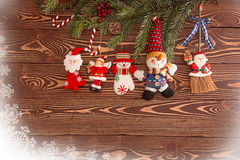 圣诞节装饰生态学木 为假日贺卡设置 库存照片