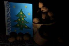 圣诞节装饰生态学木 圣诞节 圣诞前夕礼品节假日许多装饰品 看板卡圣诞节问候 图库摄影