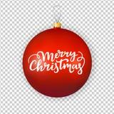 圣诞节装饰生态学木 有欢乐在上写字的文本的红色玻璃球玩具 向量例证