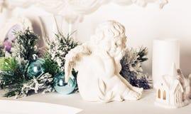 圣诞节装饰生态学木 Xmas天使 免版税库存照片