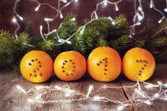 圣诞节装饰用桔子 免版税图库摄影