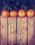 圣诞节装饰用桔子& x28; 定调子,冠上view& x29; 免版税库存图片