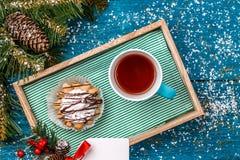 圣诞节装饰的图象,空的明信片 库存图片