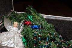 圣诞节装饰的时刻 Xmas储藏盒的树神仙 库存图片