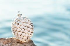 圣诞节装饰的美国五针松锥体在海滩的日落 免版税库存图片