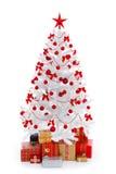 圣诞节装饰礼品红色结构树白色 免版税库存图片